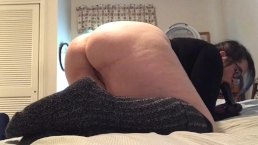 pretty plumper in glasses plays with big black toy and Buttplug and cums