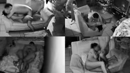 Pregnant StepMom Fucking #2 Quad View 4 points of view Security Cameras