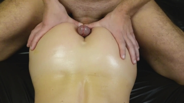 Oiled assjob close up and cum on ass pov