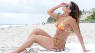PureMature Busty MILF Nina Dolci fucked after beach body tan Big real