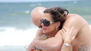 PureMature Busty MILF Nina Dolci fucked after beach body tan