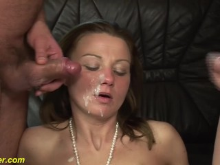 skinny Milfs first double penetration