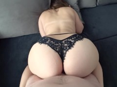 Sultry brunette fingering tits cock and gives in anal