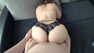 Young with big ass in black panties fucked Tits big