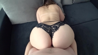 Young with big ass in black panties fucked Bros tits