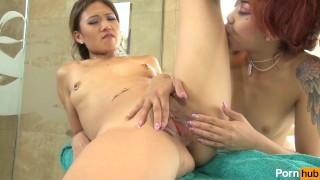 My First Lesbian Taste - Scene 1  tiny tits asian babe alt bathtub small emo lesbo small tits dsl petite hottie stripper pussy eating natural tits girl on girl small ass