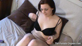 Preview 1 of Curvy Babe with Furry Fleshy Wet Pussy Vibrates Her Clit to Orgasm