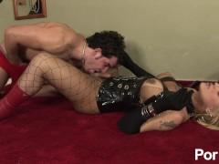 Trans mistress dominates and fucks delivery boy