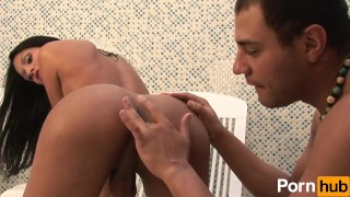 Brunette tranny gets blown and assfucked in lawnchair