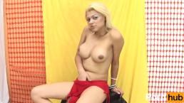 Big boobs Tgirl strokes uncut cock