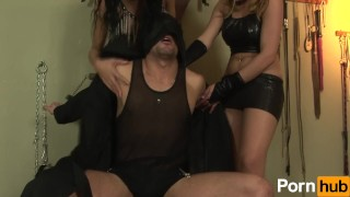 Hot Shemale threesome in the dungeon Bj fuck