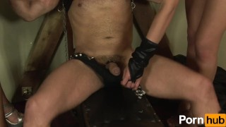 Hot Shemale threesome in the dungeon Solo tits
