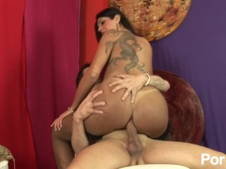 Tattooed shemale gets her big butt fucked