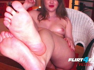 Mistress Alice on Flirt4Free Fetish - BDSM Babe Oils Up Her Feet for Webcam