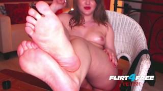 Mistress Alice on Flirt4Free Fetish - BDSM Babe Oils Up Her Feet for Webcam