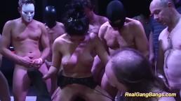 Kinky salma de nora in a real gangbang orgy