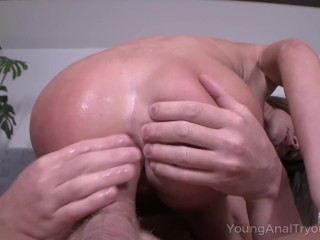Young Anal Tryouts – Cutie seduces dude into making anal sex