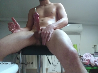 Veiny cock unleashing a thick load