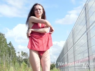 Sex With My Hot Aunt Fucking, LisA Li strips nude outdoors In the sun Brunette Striptease Small Tits