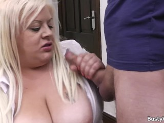 Big boobs blonde pleases her boss