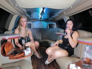 Blonde shemale Barbara Perez and her hot body fucking a girl in a Limousine