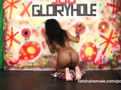 Ebony Shemale Sucks and Jerks off at Gloryhole - Fetish Shemale