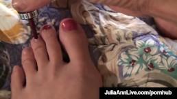 Sensual Milf Julia Ann Paints Her Toenails & Shows Sexy Feet