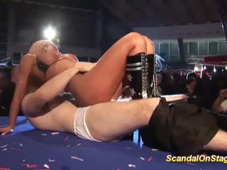 Wwe Divas Big Boobs Fucking, facesitting On public sex fair show stage Public Reality Striptease
