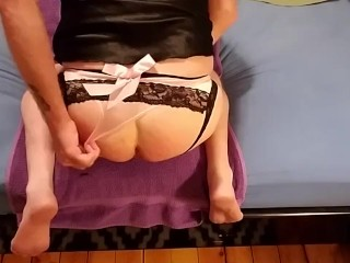 Whipping, sucking n fucking my dildo in my sexy panties and satin lingerie!