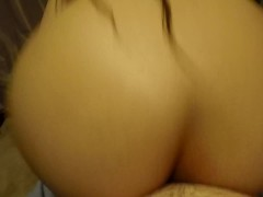 ENORMOUS ASS FURIOUSLY GRINDS AND SMOTHERS COCK, INTENSE POV ASSJOB W/ CUM