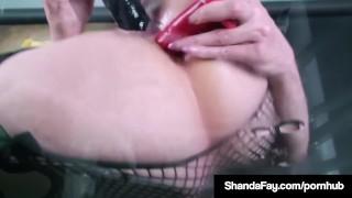 Horny banger glass gets table fay w off dildo on shanda toy big big