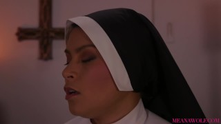 DEMON POSSESSED NUN SUCKS THE SOUL OUT OF YOUR COCK - MEANA WOLF Creamy her