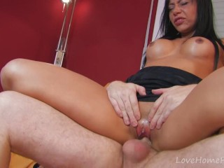 Gold-Skinned Beauty Can't Get Enough Cum
