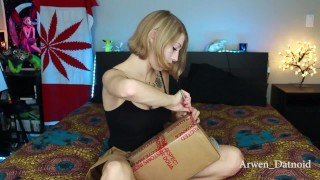 Unboxing and fucking HUGE bad dragon dildo, stuffs pussy with mini dildos
