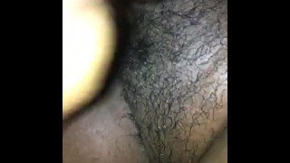 Playing with my wet pussy  wet pussy hairy pussy