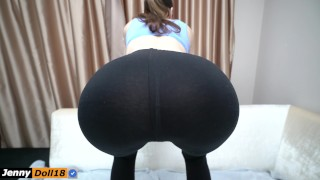 Step sister do squats and seduced step brother with yoga pants Ass lines