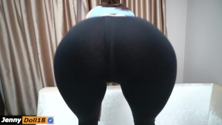 Step sister do squats and seduced step brother with yoga pants Smalltits stepbro