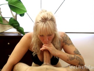 Sexy Naturally Busty Blonde Swallows Guy's Cum