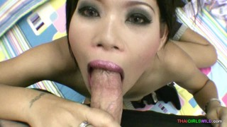 Pretty mouth opens wide for blowjob and cumshot