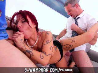 Step-Mom Teaches Sex to Inexperienced Son-in-Law - 3-Way Porn