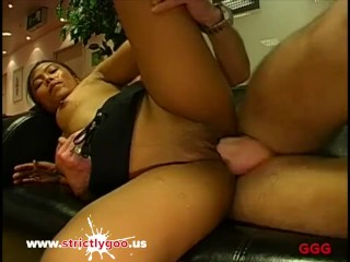 Little Asian babe Lynn gets her first German Bukkake gangbang