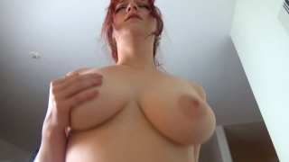 Hot redhead in stockings gets creampied Busty homemade