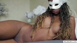 Beautiful masked chocolate girl very teasing show - XCZECH.com