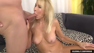 Mature blonde Erica Lauren shows off her pussy and fucks Of doggystyle