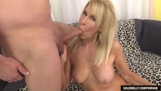 Mature blonde Erica Lauren shows off her pussy and fucks Dick tits