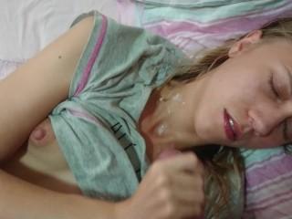 Sleepy Teen Stepsister wakes up to creampie surprise