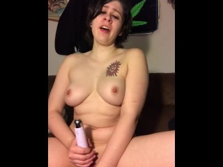 Big titty goth girl smokes and plays with self (ignore the puppy)
