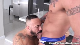 Deepthroated wolf bounces on studs fat cock