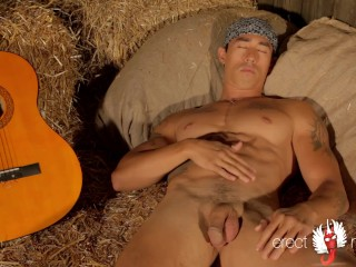 Gay asian muscle guitarist plays with cock on the hay
