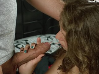 Curly haired blonde going hard on the cock